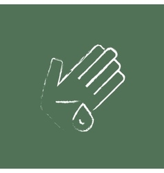 Wounded palm icon drawn in chalk vector