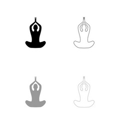 Yoga pose of woman black and grey set icon vector