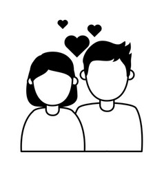 young couple love hearts romantic affection vector image