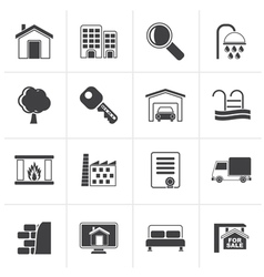 Black Real Estate Icons vector image