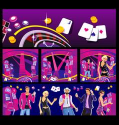 interior casino - slot machines chairs light vector image