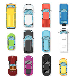 top view modern city car isolated set vector image vector image