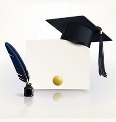 diploma of graduation with a graduate cap vector image vector image