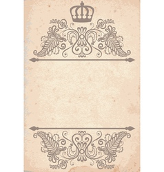 old paper texture with royal pattern vector image vector image