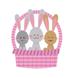 pink basket with cute easter rabbits vector image