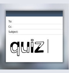 quiz lettering on email template vector image vector image