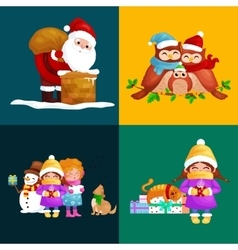 set Merry Christmas Happy new year vector image