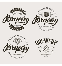 Set of vintage brewery badge label logo template vector image