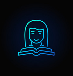 woman with a book blue icon vector image vector image