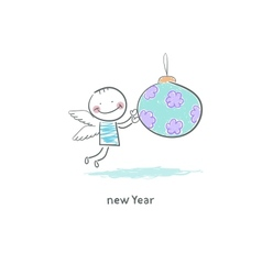 Angel and Christmas ball vector image