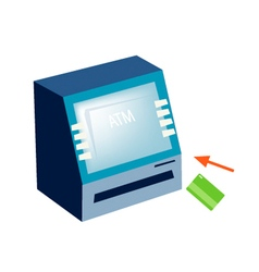 Atm or automated teller machine on white backgroun vector