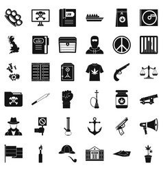 crime investigation icons set simple style vector image vector image