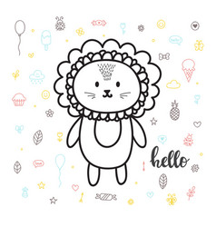cute hand drawn postcard with funny lion card for vector image