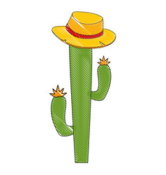 isolated cactus with hat vector image