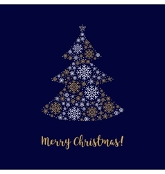 Merry Christmas card Abstract tree made of vector image vector image