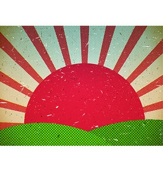 Scratched cardboard card with sun vector image