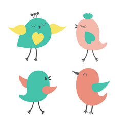 set of cute colorful birds vector image vector image