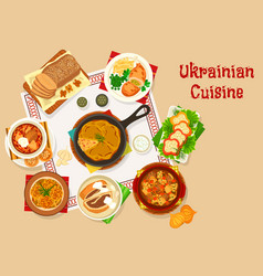ukrainian cuisine lunch dishes icon design vector image
