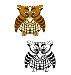 Fluffy owl bird with brown and yellow plumage vector image