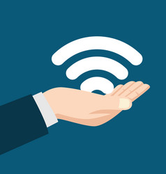 man hand holding a wifi symbol vector image vector image