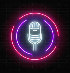neon sign with microphone in round frame vector image