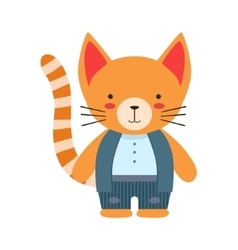 Red Cat In White Top And Vest Cute Toy Baby Animal vector image vector image