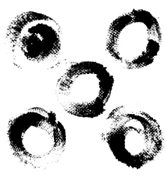 Round textured prints with paint on paper set 4 vector image vector image