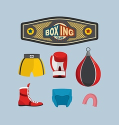 Set Boxing Icons Boxing equipment vector image