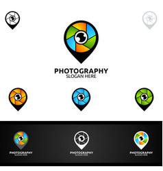 Abstract pin camera photography logo icon design vector
