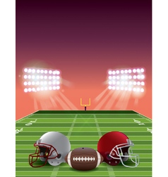 American Football Field Stadium at Sunset vector image