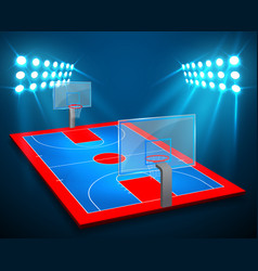 an of perspective basketball arena field with vector image