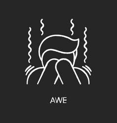 Awe chalk white icon on black background vector