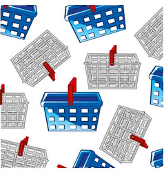 baskets for buying in shop decorative pattern vector image