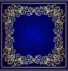 beautiful dark blue background with gold pattern vector image