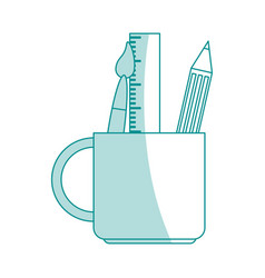 Blue shading silhouette cartoon pencil holder with vector