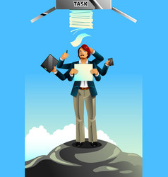 businessman between rock and hard place concept vector image