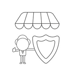 Businessman character holding guard shield under vector