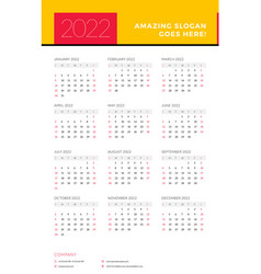 Calendar for 2022 year week starts on sunday vector