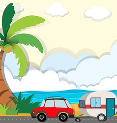 Car ride along the beach vector image