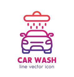 Car wash icon linear logo element over white vector