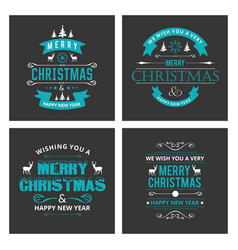 christmas card sets black background vector image