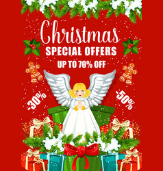 Christmas sale poster with xmas gift and present vector