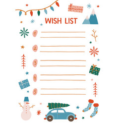 Christmas wish list decorated vector