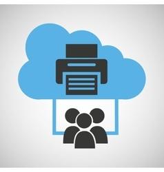 Cloud computing service printer device vector