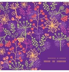 Colorful garden plants frame corner pattern vector