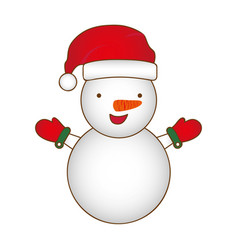 colorful silhouette cartoon snowman christmas vector image