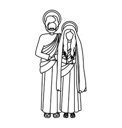 Contour virgin mary and saint joseph vector