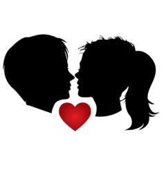 couple kisses vector image