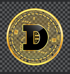Crypto currency dogecoin golden symbol vector