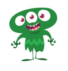 Cute cartoon alien with three eyes vector